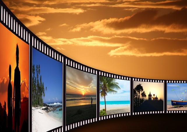 Filmrull med ulike naturbilder.