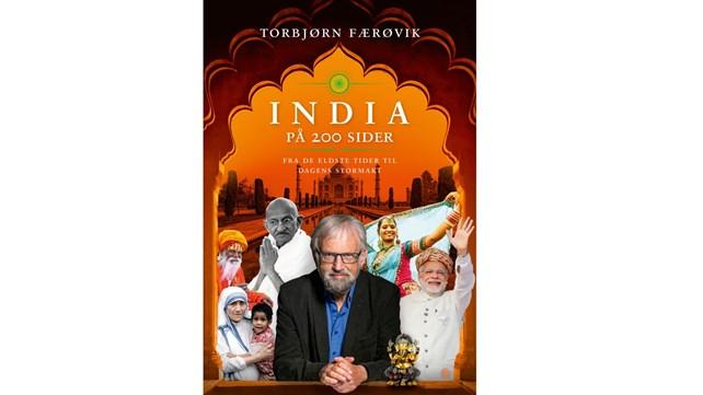 """Omslaget til boken """"India på 200 sider"""" med bilde av forfatteren og kjente personer fra indisk historie"""