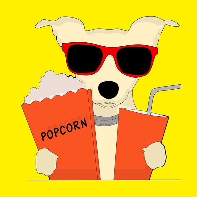 Hund med popcorn